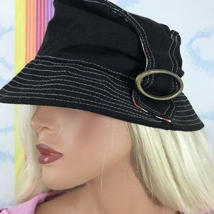 vintage y2k black bucket hat with buckle accent